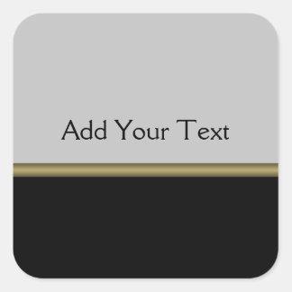 Monogramm-Eleganz im schwarzen grauen Gold Quadrat-Aufkleber