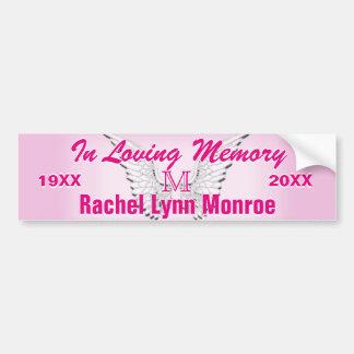 Monogramm-Erinnerungsengel Wings Rosa Autoaufkleber