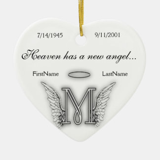 Monogramm-Erinnerungstribut-Verzierung M Keramik Ornament