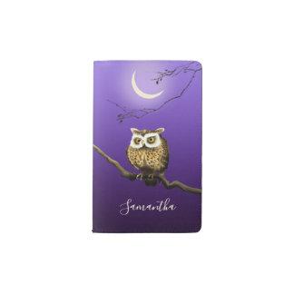 Monogramm-Eulen-Nachtmondschein-tiefes blaues Moleskine Taschennotizbuch