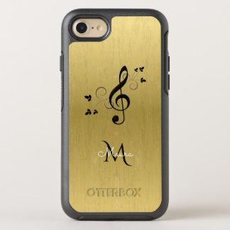 Monogramm-extravaganter MusikClef auf GoldiPhone 7 OtterBox Symmetry iPhone 8/7 Hülle