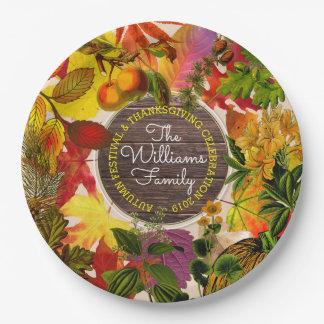 Monogramm-Fall-Herbst verlässt Collage Vintages Pappteller