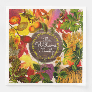Monogramm-Fall-Herbst verlässt Collage Vintages Servietten