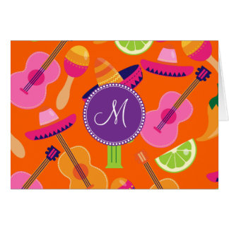 Monogramm-Fiesta-Partysombrero-Kaktus kalkt Karte