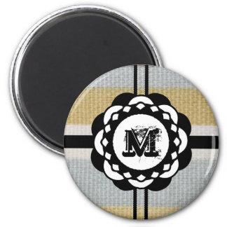 Monogramm-flippiges blaues Stoff-Muster Runder Magnet 5,7 Cm