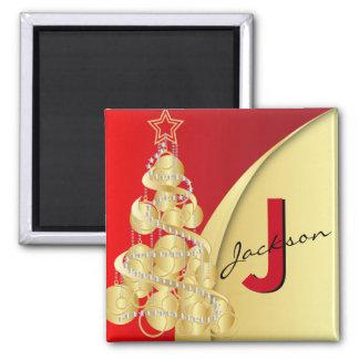 Monogramm-frohe Weihnachten Quadratischer Magnet