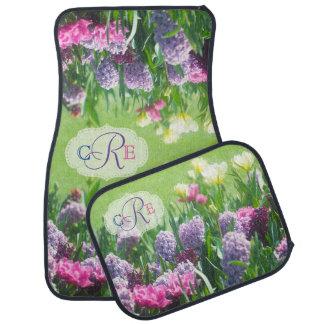 Monogramm-Frühlings-Garten-schöne Tulpe-Hyazinthe Autofußmatte