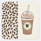 Monogramm gefror Kaffee, um zu gehen u. Quadratischer Aufkleber