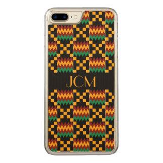 Monogramm-Gelb, Grün, Rot, schwarzer Kente Stoff Carved iPhone 8 Plus/7 Plus Hülle