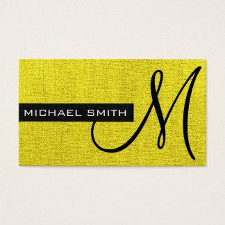 Monogramm-gelbe elegante Leinwand Visitenkarte