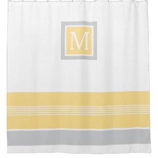 Monogramm-gelbe und graue gestreifte Grenze Duschvorhang