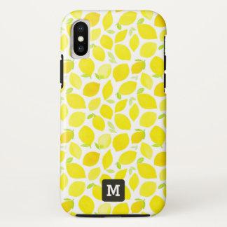 Monogramm. Gelbe Zitronen im Watercolor. iPhone X Hülle
