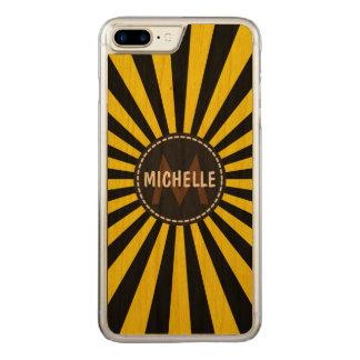 Monogramm gelber flippiger Sun Rays Muster Carved iPhone 8 Plus/7 Plus Hülle