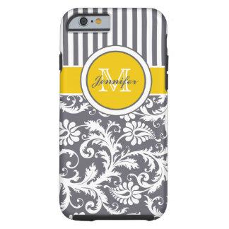 Monogramm-gelber graues Weiß-gestreifter Damast Tough iPhone 6 Hülle