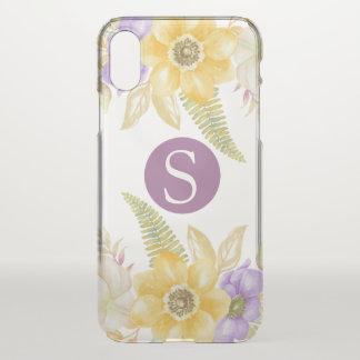 Monogramm-gelbes lila mit Blumenpersonalisiertes iPhone X Hülle