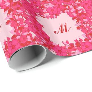 Monogramm gerahmt mit Blumen - Fuchsie und Rosa Geschenkpapier