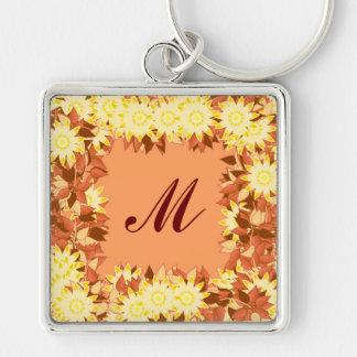 Monogramm gerahmt mit Blumen - Kakao u. Gelb Schlüsselanhänger