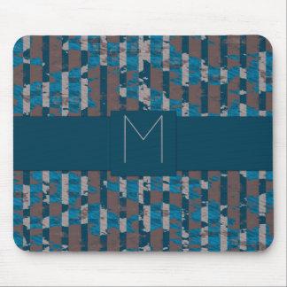 Monogramm-gestreifte abstrakte aquamarine mousepads