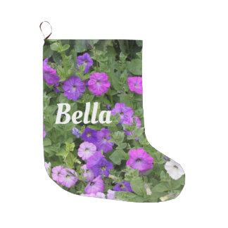 Monogramm-Girly niedliche NamensBlumen lila Trendy Großer Weihnachtsstrumpf