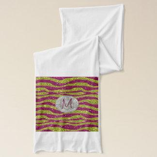 Monogramm-Glitzer-Gelb-Rosazebra-Streifen Schal