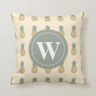 Monogramm-goldene Ananas Kissen