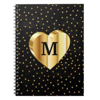 Monogramm-Goldherz auf Schwarzem und Gold Spiral Notizblock