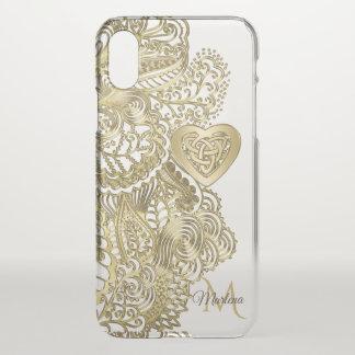 Monogramm-Goldspitze und keltisches Herz iPhone X Hülle
