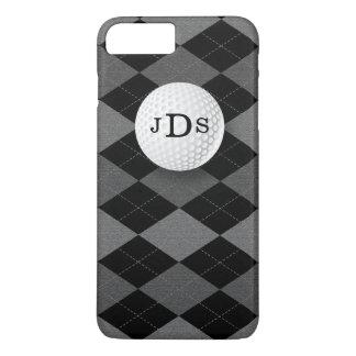 Monogramm-graue Raute, Golf-Ball iPhone 7 Fall iPhone 8 Plus/7 Plus Hülle