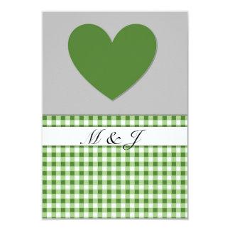 Monogramm-grüne karierte Herz-Hochzeit UAWG Karte 8,9 X 12,7 Cm Einladungskarte