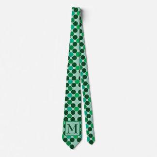 Monogramm-grüne Polkapunkt-Krawatte Krawatten