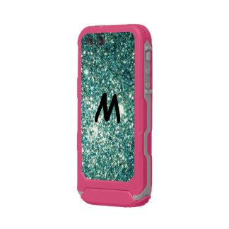 Monogramm + Grüner Glitter Incipio ATLAS ID™ iPhone 5 Hülle
