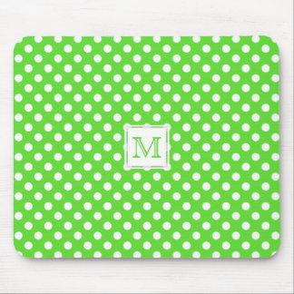 Monogramm: Grüner u. weißer Tupfen Mousepad