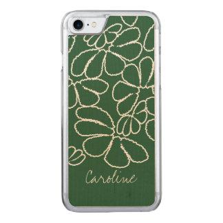 Monogramm grünes wunderliches Ikat Carved iPhone 8/7 Hülle
