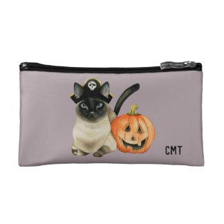 Monogramm Halloweens siamesischer Katzen-  Kosmetiktasche
