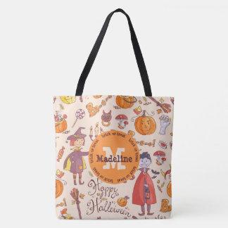 Monogramm-Halloweentrick-oder -Leckerei-Tasche Tasche