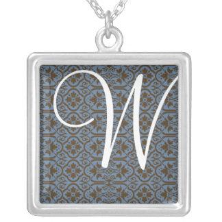 Monogramm-Halskette - antiker Damast Halskette Mit Quadratischem Anhänger