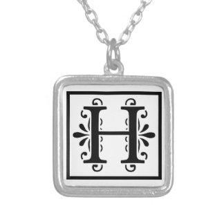 Monogramm-Halskette des Buchstabe-H Versilberte Kette