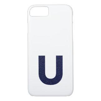 Monogramm-Hauptstadt U mit Imitat-Glitter iPhone 8/7 Hülle