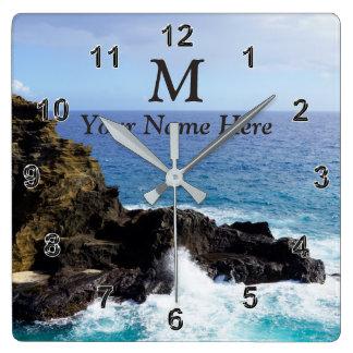 Monogramm-hawaiische Ozean-Uhr Ihr Name, Foto Quadratische Wanduhr