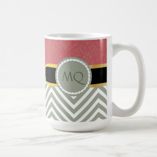 Monogramm-helle weise Sparren u. doppelte Kaffeetasse