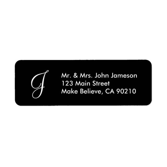 Monogramm-Herr u. Frau - schwarze Adressen-Etikett Rückversand-Adressaufkleber