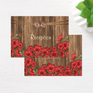 Monogramm-Herz mit roten Lilien - Empfang Visitenkarte