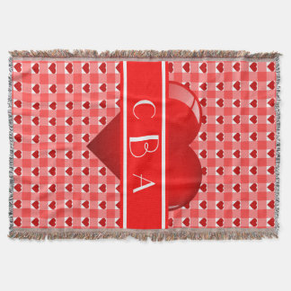 Monogramm-Herzen und roter Gingham Decke