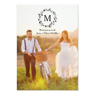Monogramm-Hochzeit des Lorbeer-Kranz-| danken 12,7 X 17,8 Cm Einladungskarte
