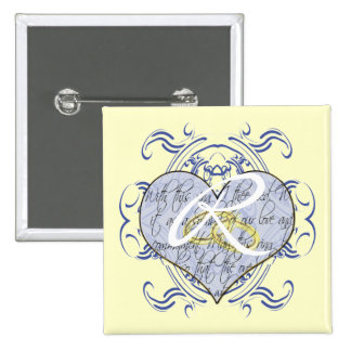 Monogramm-Hochzeits-Einladungen u. Geschenke Anstecknadelbutton