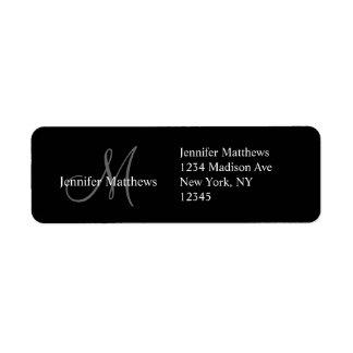 Monogramm-Hochzeits-Einladungs-Rücksendeadressen-A Rücksende Aufkleber