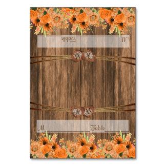 Monogramm-Hochzeits-Herzen mit orange Blumen Karte