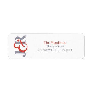 Monogramm-Hochzeits-Rücksendeadresse der Fiesta-| Rückversand-Adressaufkleber