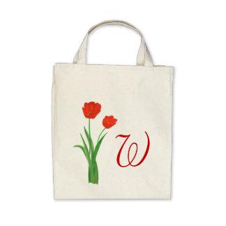 Monogramm-Hochzeits-Taschentaschen, rote Tulpen Leinentasche