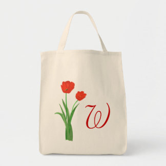 Monogramm-Hochzeits-Taschentaschen, rote Tulpen Einkaufstasche